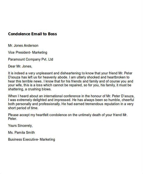 email format to your boss sle formal condolence message choice image download