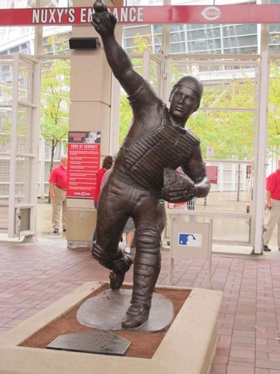 johnny bench statue bud s shoulder social media night details and yet another