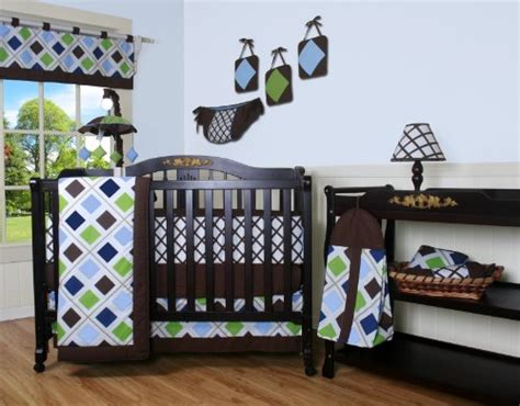 Boutique Blue Brown Diamond 13pcs Crib Bedding Set Baby Blue Brown Crib Bedding