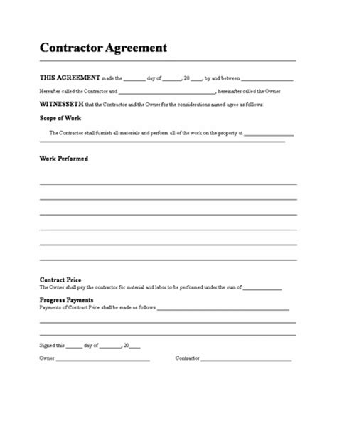 contractor agreement template business contract template microsoft word templates