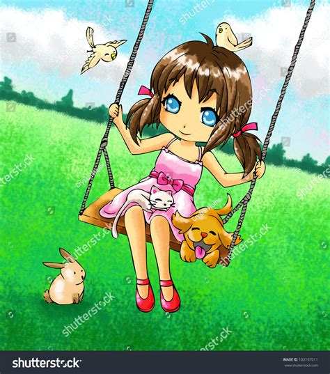 swing her cute 2d girl on swing her stock illustration 103197011