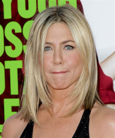 medium haircuts aniston aniston medium casual hairstyle light chagne and light two