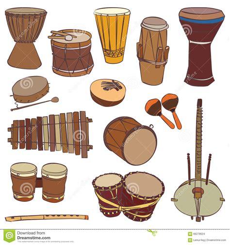 Instruments Kontour traditional musical instruments vector contour set