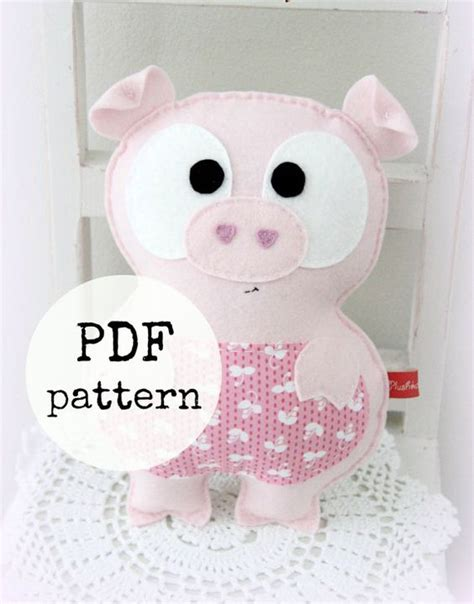Handmade Stuffed Animal Sewing Patterns - sewing pattern felt pig plush handmade
