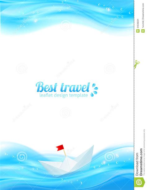 Abstract Realistic Water With Paper Boat Stock Image Image 34538231 Paper Water Template