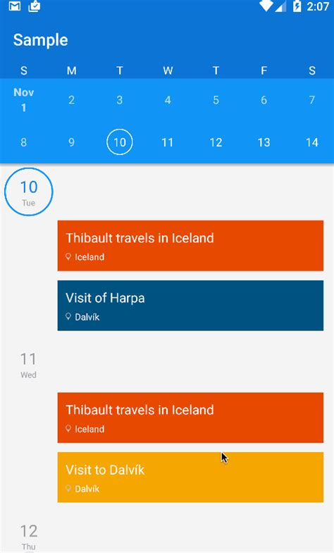 material design calendar android github github tibolte agendacalendarview an android project