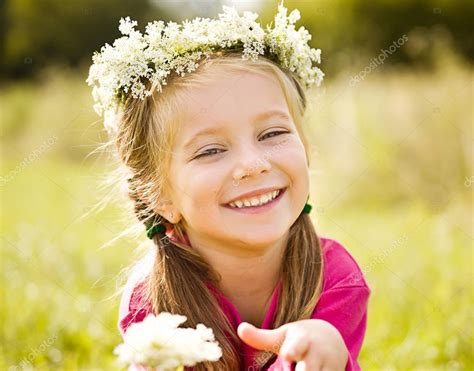 little girls little girl in wreath of flowers stock photo 169 tan4ikk