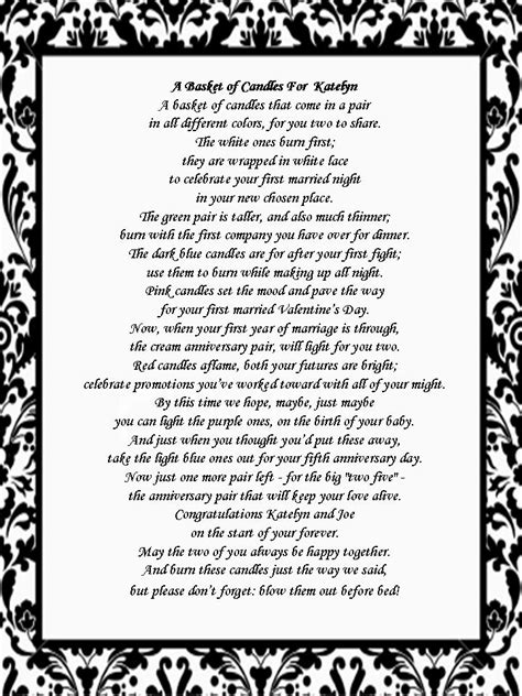 Wedding Shower Poems by Bridal Shower Gift Candle Poem Basket The Family
