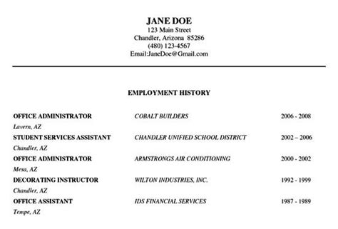 Employment History Letter Template Resume Employment History