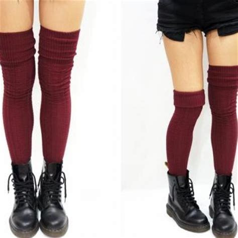 thigh high knit socks cozy cable knit thigh high socks boot socks burgundy on