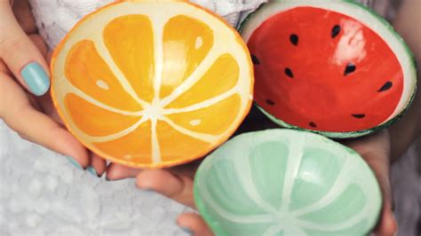 How To Make Paper Clay At Home - diy clay fruit bowls from scratch watermelon orange