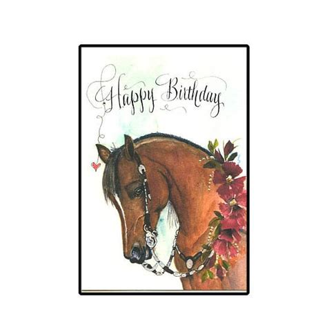 printable horse happy birthday cards western show horse birthday card in watercolor with