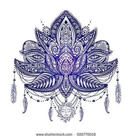 sacred lotus tattoo ornate vector ornamental lotus with