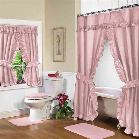 bathroom drapes rose pink double swag shower curtain