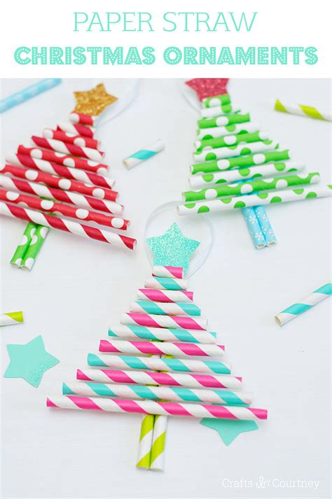 Paper Craft Ornaments - sparkly to make straw tree ornaments