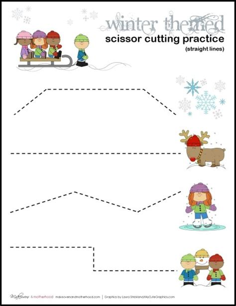 Cutting Worksheets by Free Winter Scissor Practice Cutting Sheets