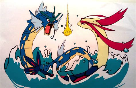 gyarados vs milotic by the poumi on deviantart