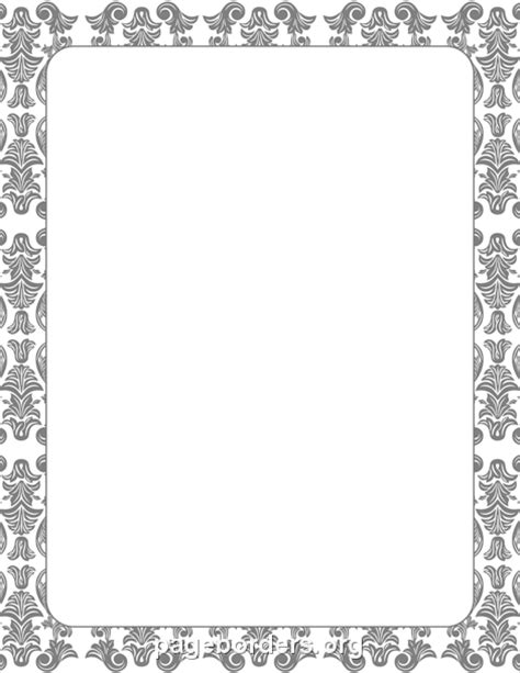 Gray Damask Border: Clip Art, Page Border, and Vector Graphics