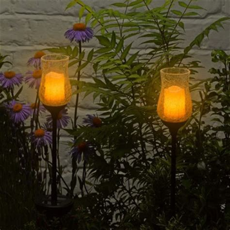 garden stake lights solar flickering candle jar garden stake lights
