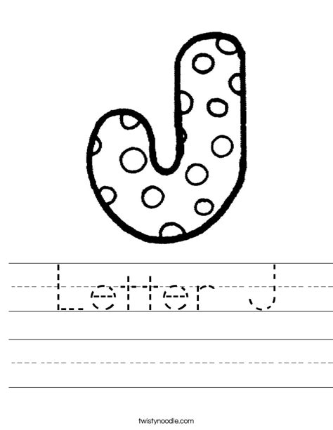 Letter J Worksheets by Letter J Worksheet Twisty Noodle