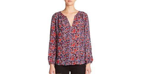 Blouse Floral Blue Preloved lyst joie odelette silk floral print blouse in blue