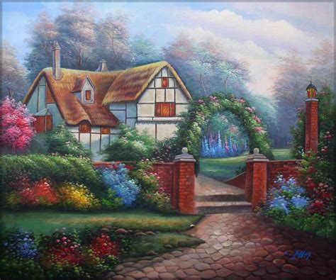 cottage garden paintings quality painted painting flowering garden cottage