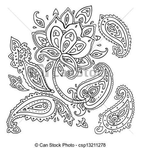 vectors illustration of hand drawn paisley ornament