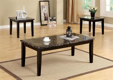 Marble End Table Set by Fremont Faux Marble Top Espresso Finish Coffee End Table Set
