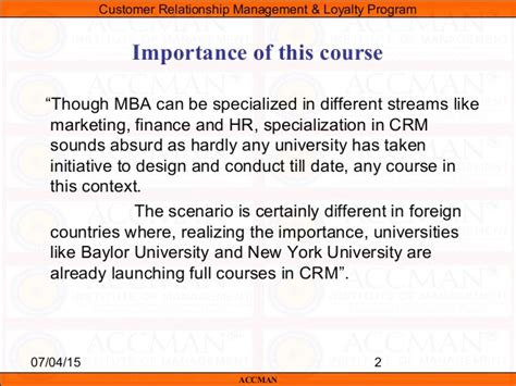 Mba Marketing And Finance In Chennai by Crm Syllabus
