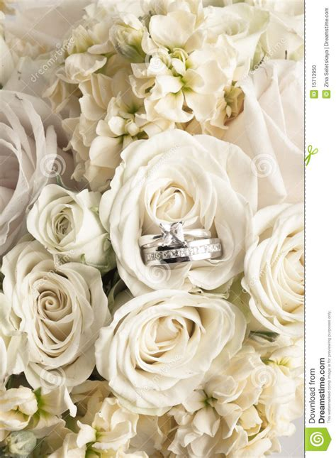 wedding bouquet  rings stock photo image