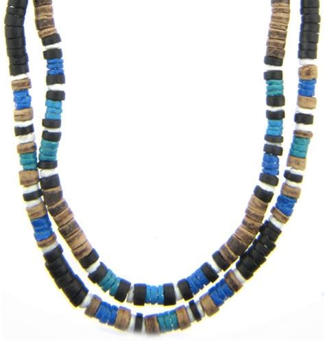 puka bead necklace 6x blue puka shell bead necklaces with brown coco