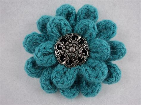 pattern knitted flowers 3 quot flower pin pdf pattern knit crochet by moniquerae