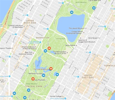 central park bathroom map where are the bathrooms with the shortest lines inside
