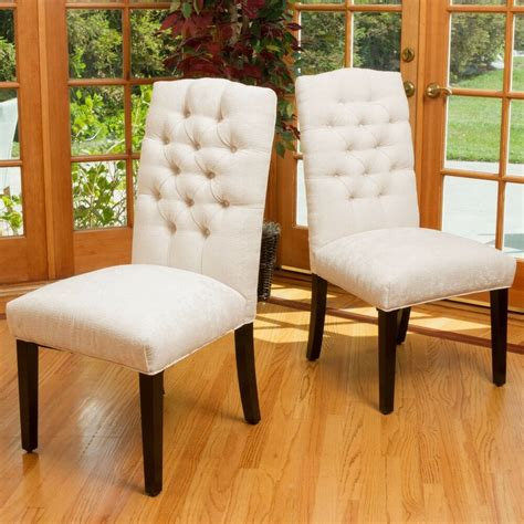 ivory dining chairs set of 2 design ivory linen upholstered dining