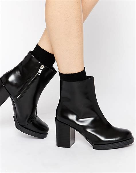 cheap monday cheap monday layer leather ankle boots at asos