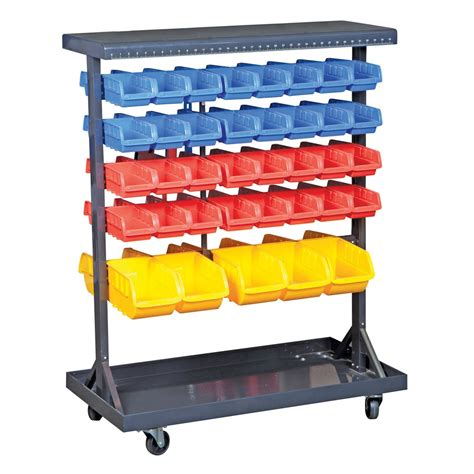 74 bin mobile sided floor rack