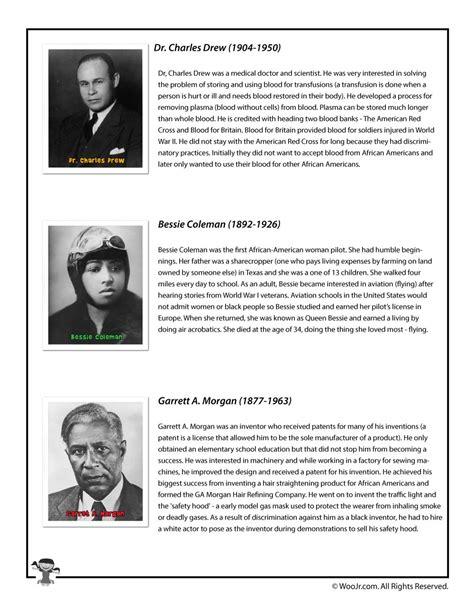 printable worksheets black history month black history month bios drew coleman morgan woo jr