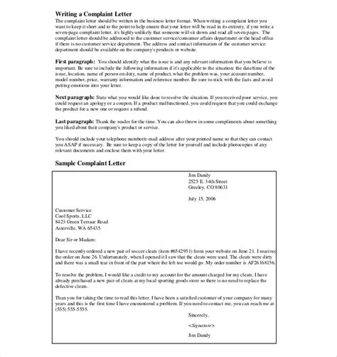 template for letter of complaint letter of complaint template 10 free word pdf