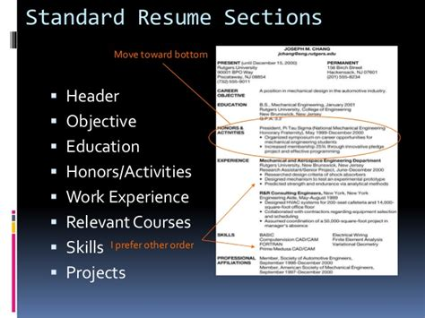 resume sections order resume ideas