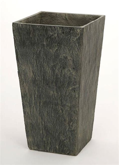 cm slate effect dark grey tall square planter