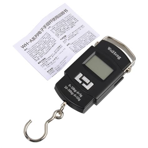Weiheng Portable Electronic Scale With Backlight Hitam weiheng a08 50kg 5g backlight digital handle luggage scale portable alex nld