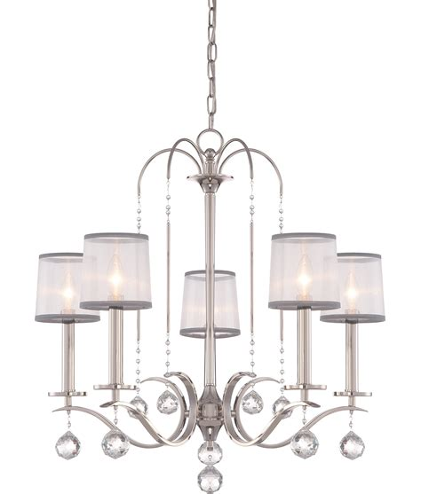 Silver Chandelier Shades Silver Finish Chandelier With Droplets And Organza Shades