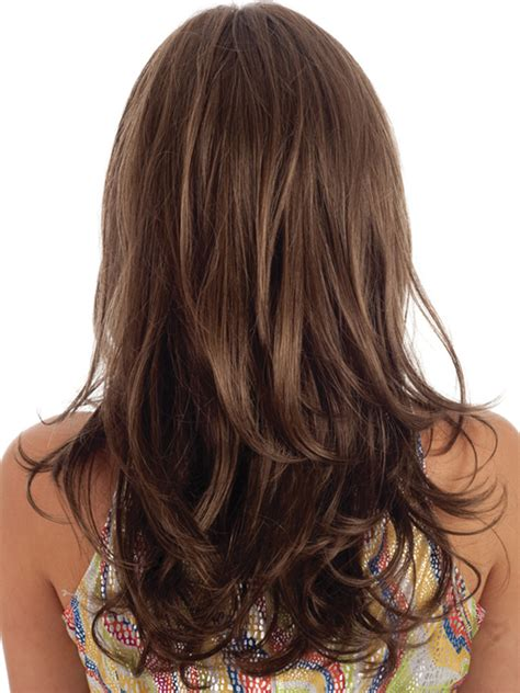long layers in front straight in the back layered wavy hairstyles back view www pixshark com