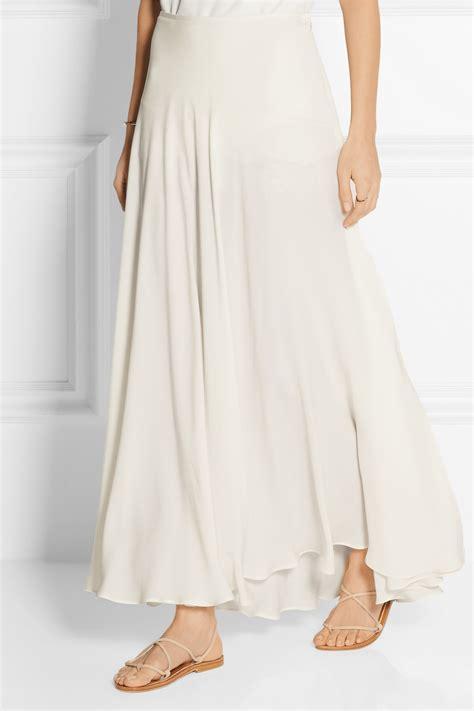 elie saab silk blend crepe maxi skirt in white lyst
