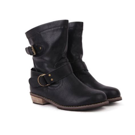 motorcycle ankle boots buy flat heel vintage buckle ankle motorcycle boots