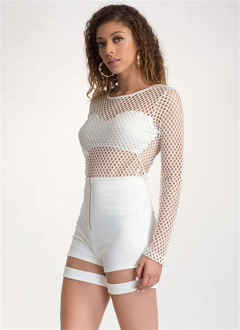 Sheer Sleeve Top into the net sheer sleeve top white black