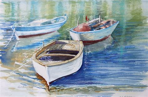 sailing boots greece three fishing boats greece painting by anne farmer