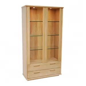 Oak Display Cabinets Uk Oak Two Door Display Cabinet Gola Furniture Uk