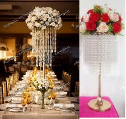 Gold Centerpieces Aliexpress Com Buy 62cm 24 4 Quot H Wedding Crystal Table Centerpiece Gold Flower Stand Wedding