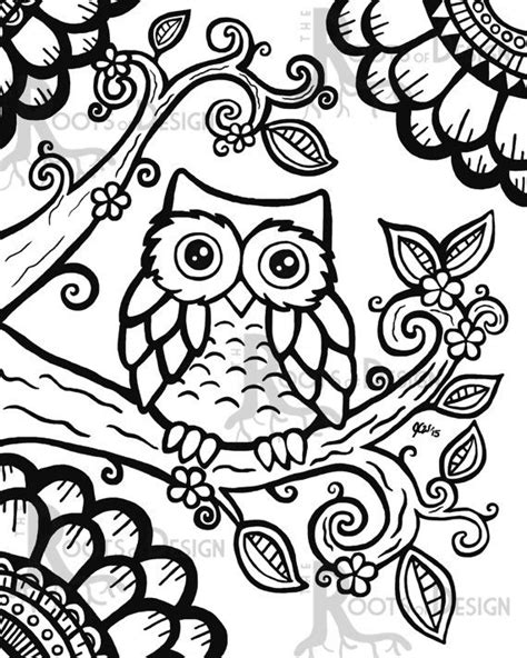 instant download coloring page cute owl zentangle